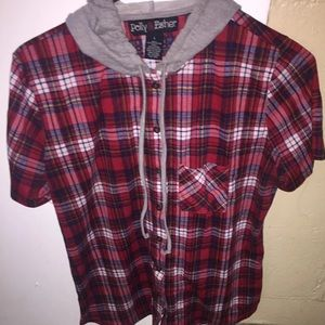 Other - PLAID HOODIE BUTTON UP